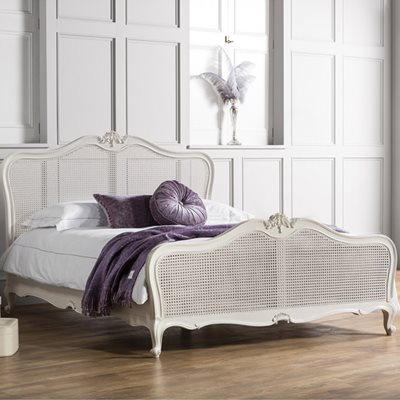 CHIC CANE BED FRAME IN CHALK by Frank Hudson