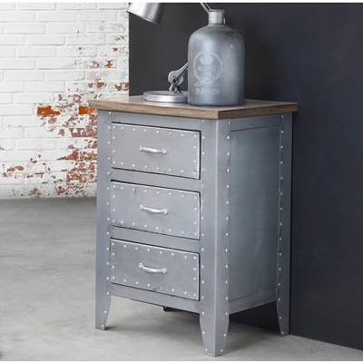 INDUSTRIAL DETROIT Bedside Table & Chest Of Drawers