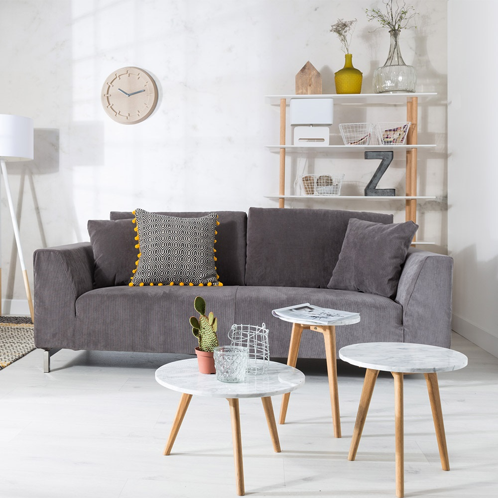 zuiver white stone scandi side table in marble oak zuiver cuckooland. Black Bedroom Furniture Sets. Home Design Ideas