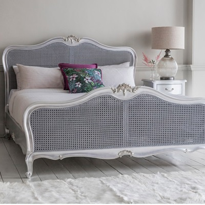 CHIC CANE BED FRAME IN SILVER by Frank Hudson