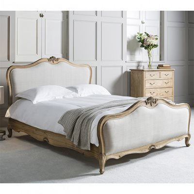 CHIC UPHOLSTERED BED FRAME IN WEATHERED ASH by Frank Hudson