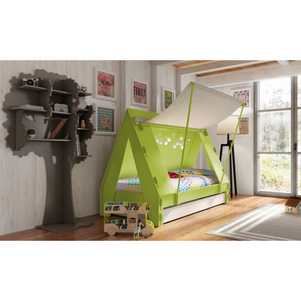 Childrens tent cabin bed in green by mathy by bols for Cabin beds for small rooms