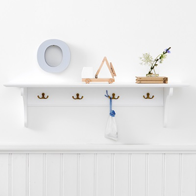 CHILDREN'S STORAGE SHELF with Hooks in White