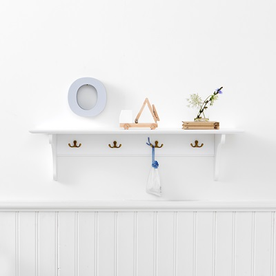 OLIVER FURNITURE CHILDREN'S STORAGE SHELF with Hooks in White