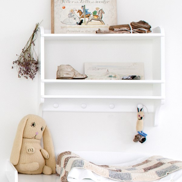 Unique Kids Bookshelf with Pegs in White