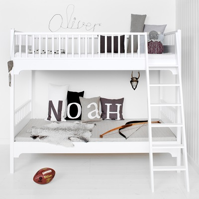 CHILDREN'S SEASIDE BUNK BED WITH SLANTED LADDER in White