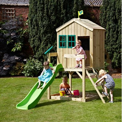 TP TOYS CHILDRENS FOREST COTTAGE PLAYHOUSE with Slide