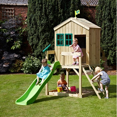 TP TOYS CHILDRENS FOREST COTTAGE PLAYHOUSE & SLIDE