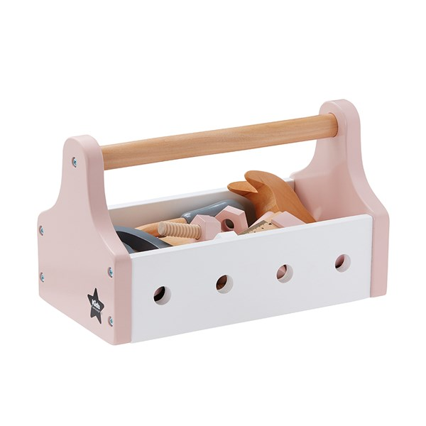 Children's Toy Tool Box with Accessories in Pink
