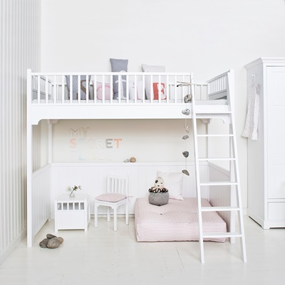 OLIVER FURNITURE SEASIDE CHILDREN'S LUXURY LOFT BED in White