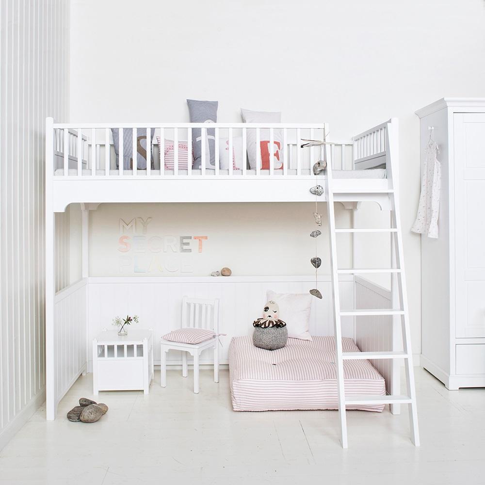 childrens luxury loft bed in white single beds cuckooland. Black Bedroom Furniture Sets. Home Design Ideas