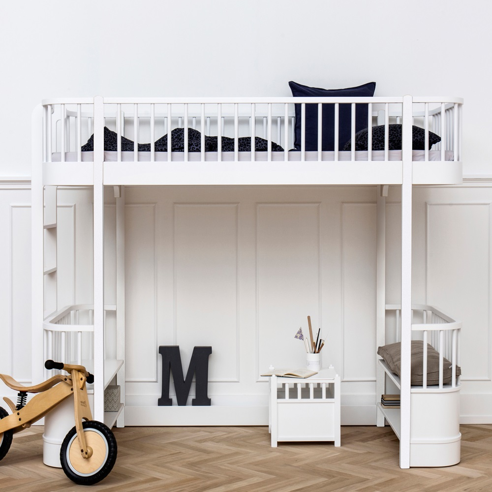 Childrens Luxury High Loft Bed In White With Storage