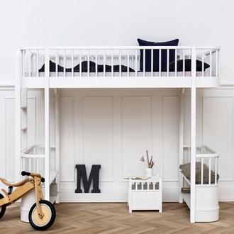 Childrens Luxury High Loft Bed In White With Storage