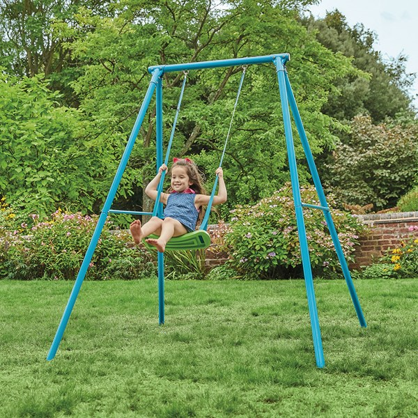 Kids Steel Outdoor Swing in Blue and Green