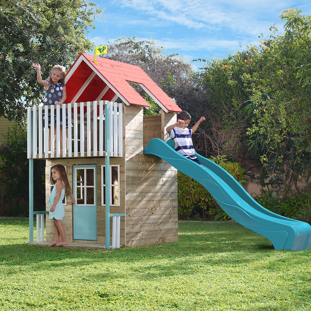 tp toys padstow painted wooden playhouse slide tp toys. Black Bedroom Furniture Sets. Home Design Ideas