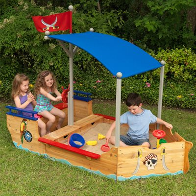 KIDS PIRATE BOAT SAND PIT & PLAY BENCH