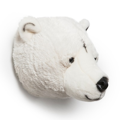 Kids Polar Bear Plush Animal Head Wall Decor