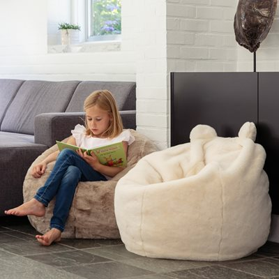Kids Faux Fur Polar Bear Bean Bag