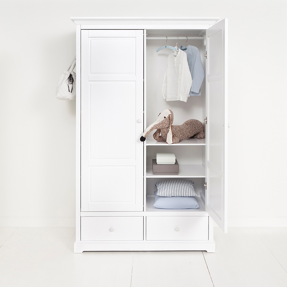 Childrens luxury 2 door wardrobe in white desks drawers Short wardrobe with drawers