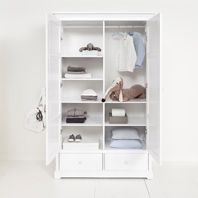 oliver furniture seaside children s luxury 2 door wardrobe in white rh cuckooland com  white wardrobe with shelves and drawers