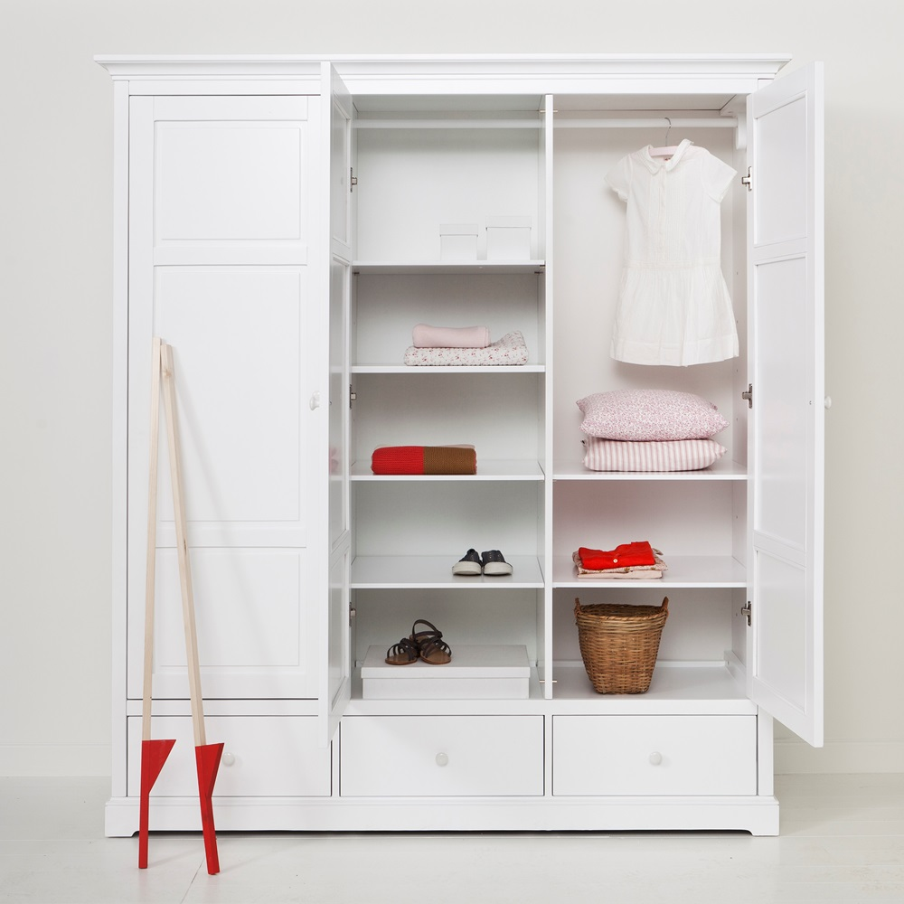 childrens luxury 3 door wardrobe in white desks drawers
