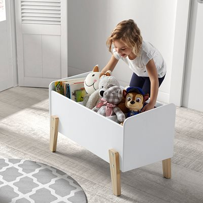 KIDDY WOODEN KIDS TOY BOX in White