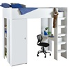 Kids White Hip High Sleeper bed with desk and wardrobe