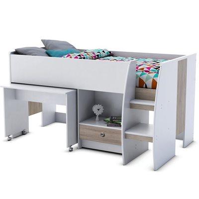 KIDS DORA MIDSLEEPER BED in White with Desk