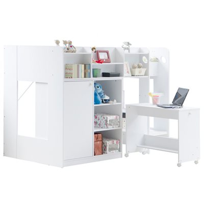 KIDS WIZARD HIGH SLEEPER WORKSTATION BED in White