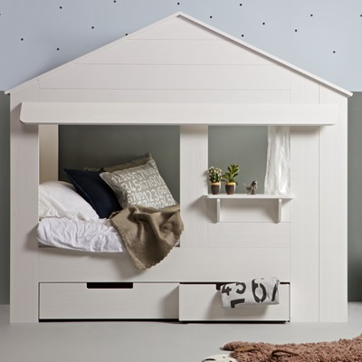 Kids House Cabin Bed in White Pine with Optional Storage Drawers by Woood