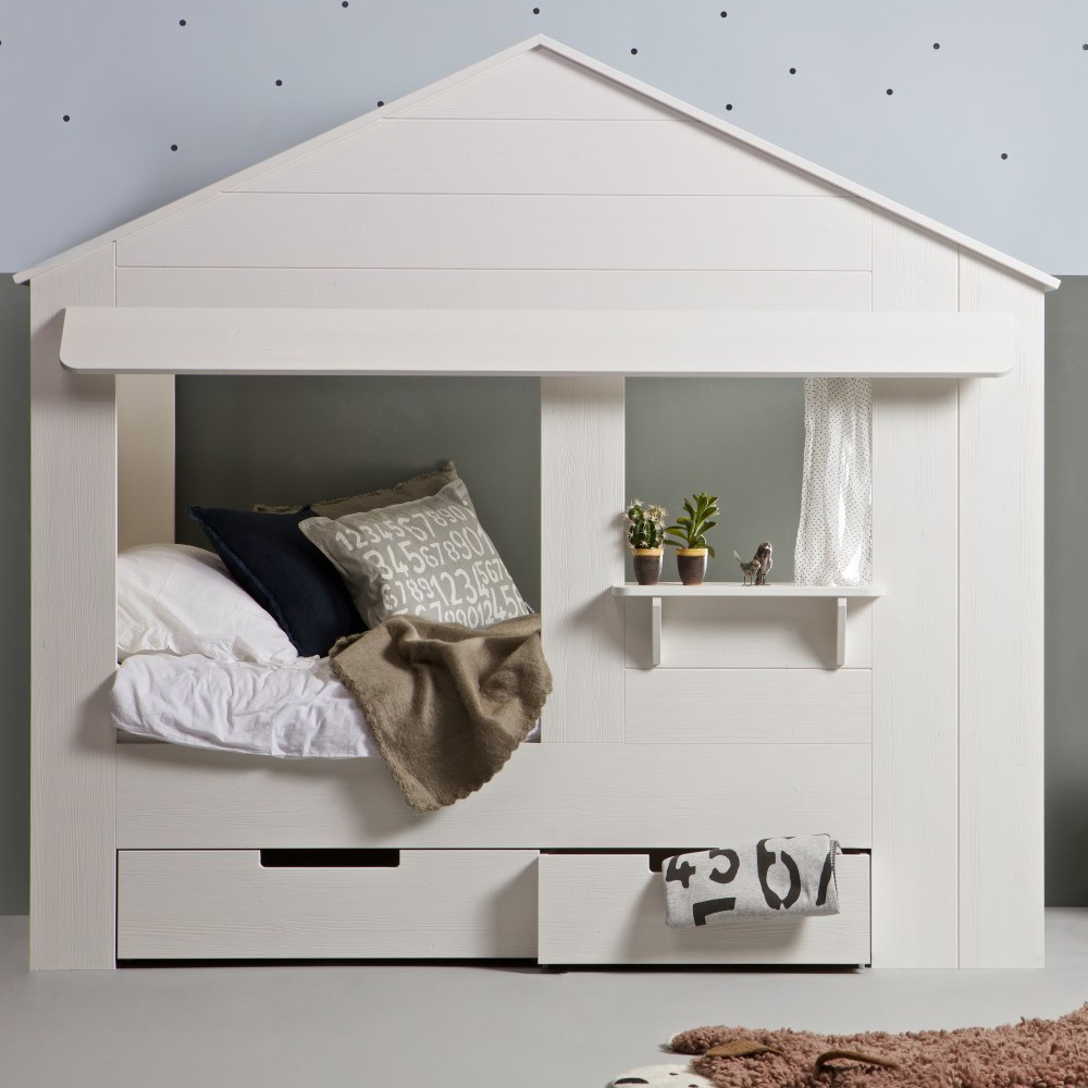 Kids house cabin bed in white pine with storage drawers cabin beds - Level a house decor ...