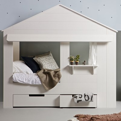 kids house cabin bed in white pine with optional storage drawers