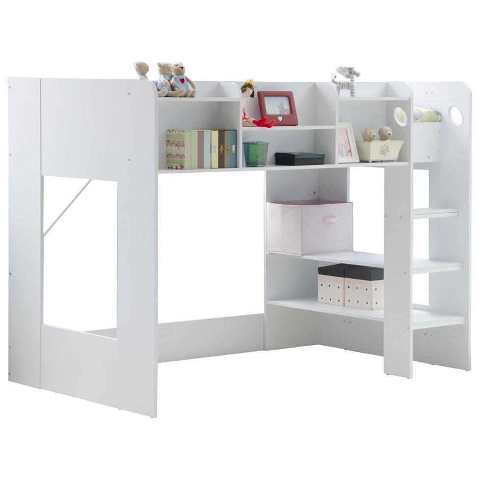 Kids wizard high sleeper bed in white kids beds cuckooland for High sleeper bed