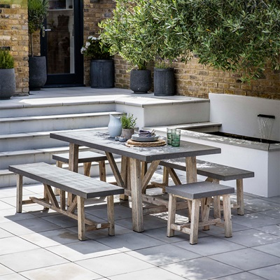 CHILSON TABLE, BENCH AND STOOL DINING SET for Indoor or Outdoor use