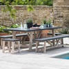 Chilson Table, Bench and Stool Set indoor or outdoor use