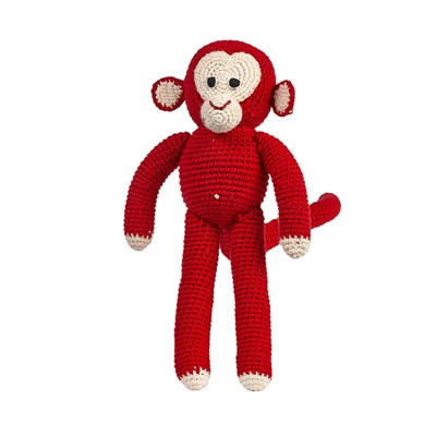 CHIMP Soft Toy in Red Dots