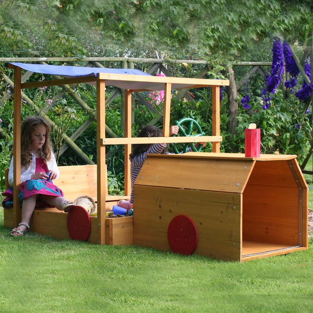 children 39 s choo choo train wooden sandpit by garden games. Black Bedroom Furniture Sets. Home Design Ideas