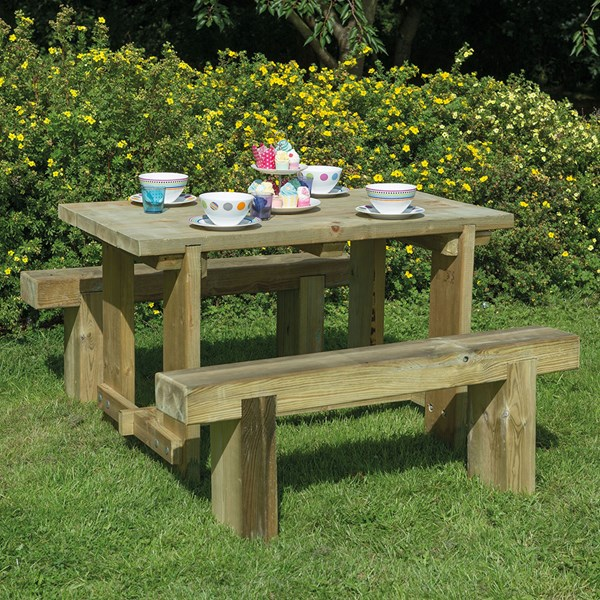 Forest Garden Refectory Table & Sleeper Bench Set