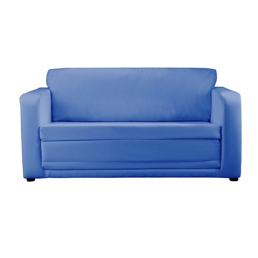 Kids folding sofa bed in plain blue kids beds cuckooland - Folding bed with sofa ...