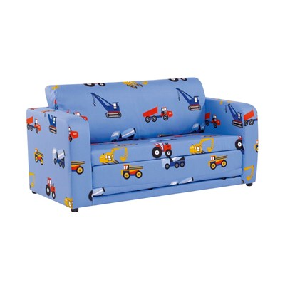 Childrens Sofa Bed in Blue Toy Trucks Kids Beds Cuckooland
