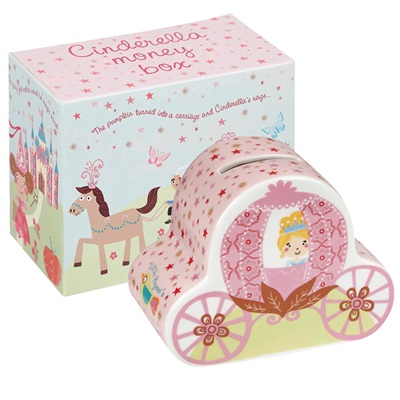 CINDERELLA'S CARRIAGE MONEY BOX with Gift Box