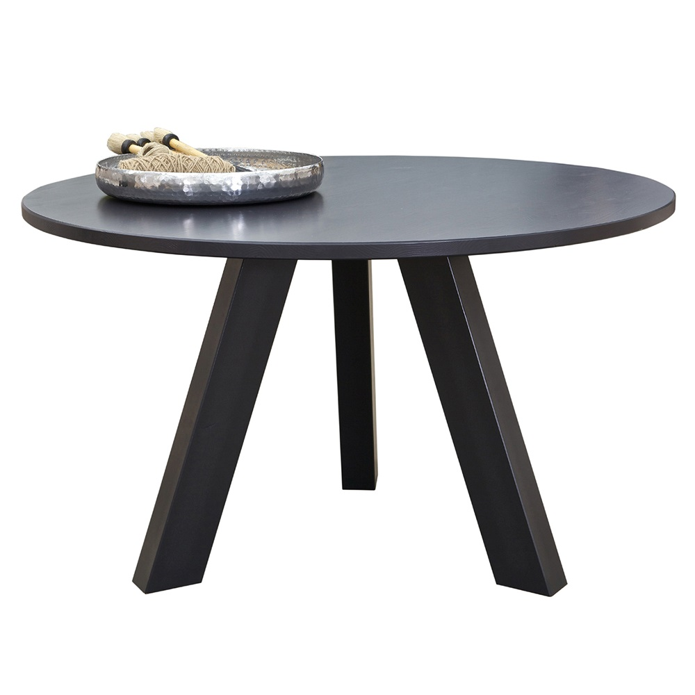 Circle dining table in black pine dining tables cuckooland for Circle furniture dining tables
