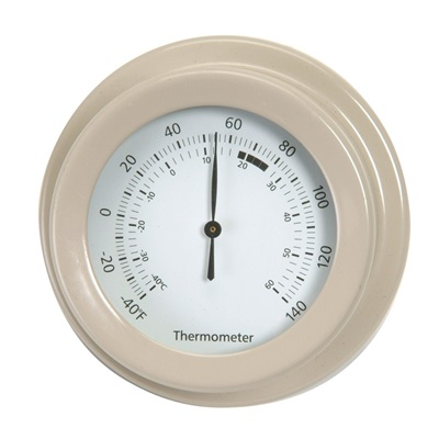 CLASSIC ROUND WALL-MOUNTED THERMOMETER In Clay by Garden Trading