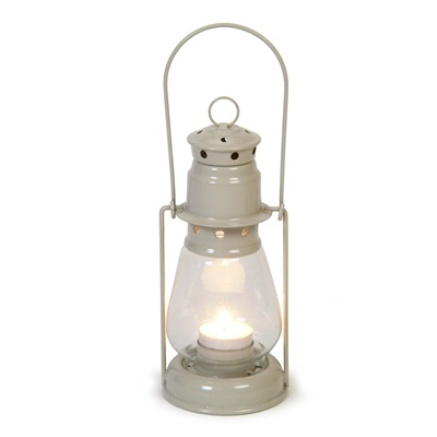 MINERS CANDLE LANTERN with Handle In Clay by Garden Trading