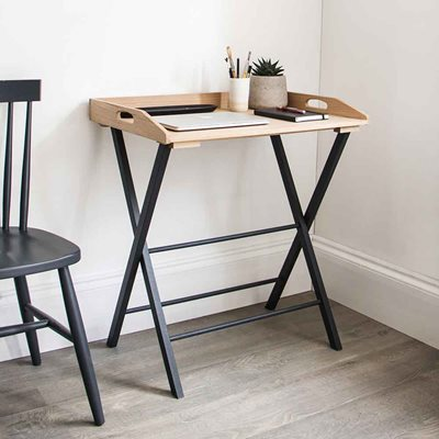 GARDEN TRADING CLOCKHOUSE DESK TRAY TABLE in Carbon and Oak