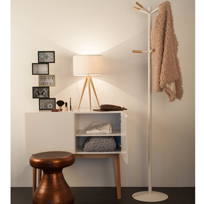 WHITE COAT STAND with Wooden Tips in Scandinavian Style