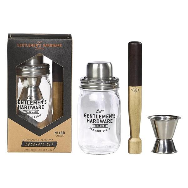 Gentlemen's Hardware Muddler and Glass Jar Cocktail Set