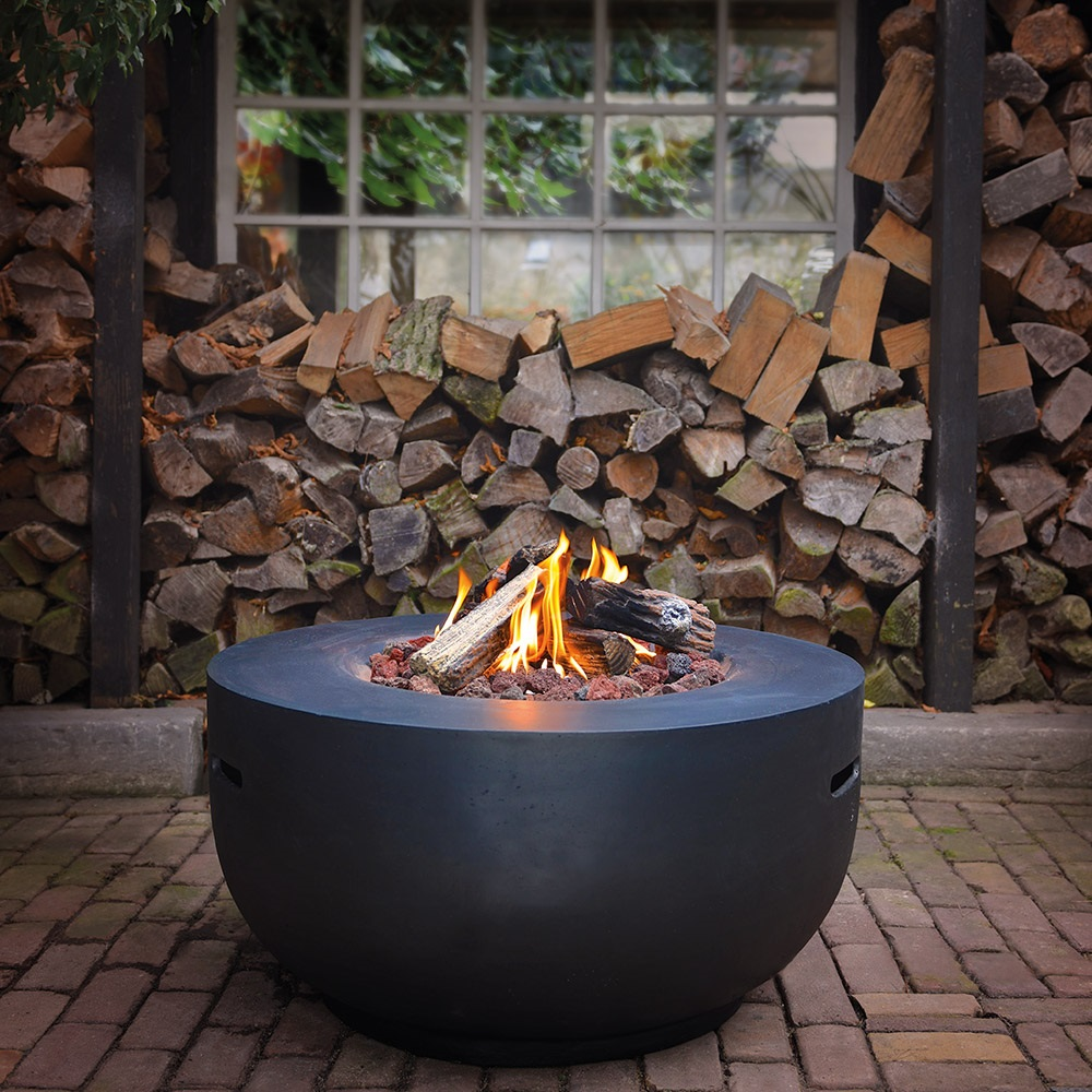 Bowl Cocoon Gas Fire Pit In Black Norfolk Leisure