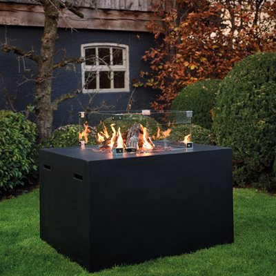 RECTANGLE COCOON GAS FIRE PIT in Black