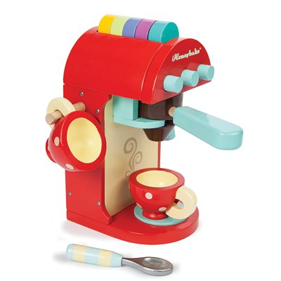 LE TOY VAN WOODEN HONEYBAKE CAFE MACHINE with Milk Frother